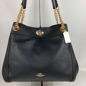 New Coach Italian Leather Edie Shoulder Bag